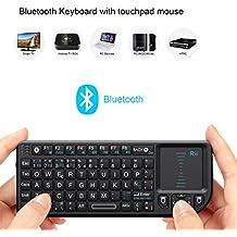 Rii RT-MWK02+ - Teclado táctil (Bluetooth, con puntero láser, compatible con iOS y Nokia Symbian S60) - QWERTY español