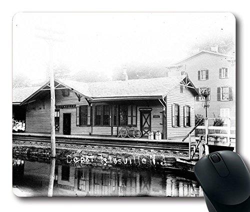hohp Vintage Mauspad mit Schiene Road Depot Tapete Neopren Gummi Standard Größe 22,9cm (220mm) X 17,8cm (180mm) X 1/8(3mm)