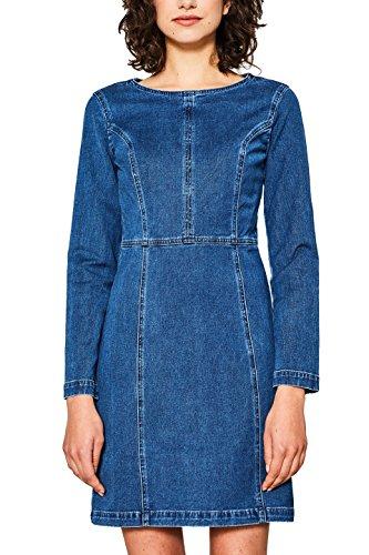 edc by ESPRIT Damen Kleid 018CC1E009, Blau (Blue Medium Wash 902), Medium