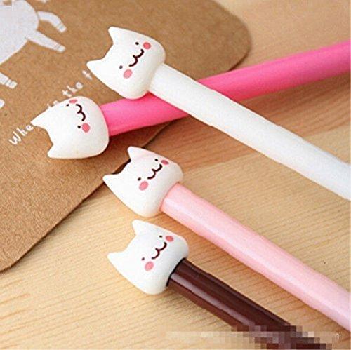 MAXGOODS Gel Pen Fashion Korean Lovely Smile Cat Kitty Cartoon Neutral Pen,4-Pack