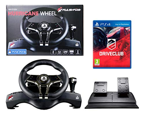 PS4 Lenkrad und Pedale + Driveclub Orig. Licensed PlayStation 4 - FlashFire - 2 Achsen, 12 Buttons, Vibrationsfunktion, Manuelle Schaltung