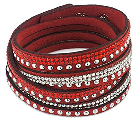 SaySure - Double Wrap Crystal Beads Leather Bracelets