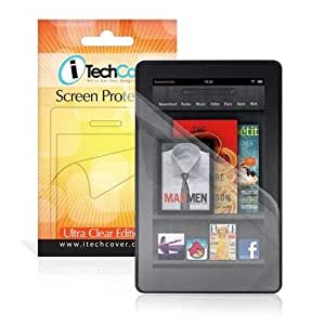 """Amazon Kindle Fire (Not For HD Version) 7"""" Inch Android Tablet Clear Anti-Scratch Screen Protector Shield - 2-in-1 Pack - By iTechCover®"""