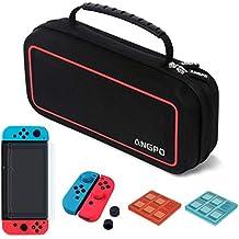 ANGPO für Nintendo Switch Tasche Schutz Set,Wasserfeste Hartschalentasche /Joy Con Silikon Schutzhülle/9H Glas Displayschutzfolie/Spiel Karten Hülle/ (Rot)