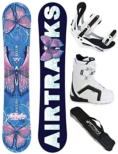 AIRTRACKS DAMEN SNOWBOARD KOMPLETT SET / AMOUR LADY SNOWBOARD HYBRID ROCKER + BINDUNG SAVAGE W + SOFTBOOTS + SB BAG / 144 148 151 / cm