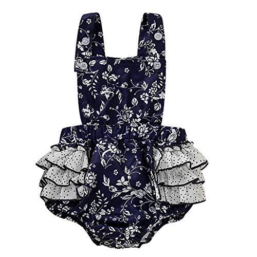 Generic JERFER Softshell Overall Kleinkind Blumen Rüschen Gallus gedruckt Tops Bodysuit Strampler Kleidung