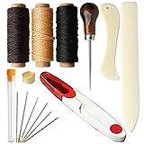 Siming 15pz Legatoria Tools set, Legatoria starter kit Bone Folder Paper Creaser, filo cerato, punteruolo, large-eye aghi da cucito per DIY Legatoria mestieri e forniture per cucire