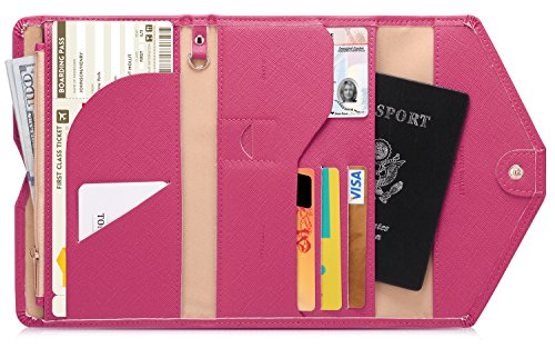Zoppen Mulit-purpose Rfid Blocking Travel Passport Wallet (Ver.4) Tri-fold Document Organizer Holder, Rose Red