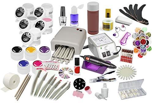Nagelstudio Starter Set inkl. Nagelfräser und UV Lampe etc.