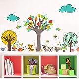 Rureng Cartoon TiereBunte Baum Wandaufkleber Für Kinder Zimmer Kindergarten Kindergarten Dekor Wolke Vögel Eulen Bienen Tapete Kunst
