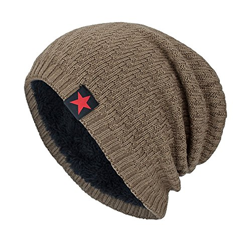 YWLINK Unisex MüTze Beanie StrickmüTze Absicherung Pfahlkappe Warm Draussen Mode Fleece Futter Hut Damen Herren(Einheitsgröße,Khaki)