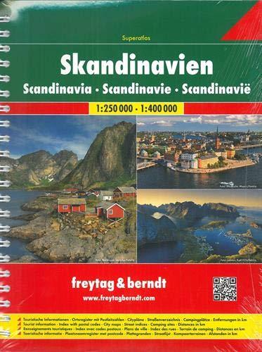 Skandinavien Superatlas, Autoatlas 1:250 000 - 1:400 000, Norwegen, Schweden, Dänemark, Finnland (freytag & berndt Autoatlanten) (Karten Norwegen)