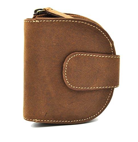 kompakte Damen Reißverschluss Geldbörse halbrund, vegetabil gegerbtes Hunterleder Jockey Club Toro cognac braun -