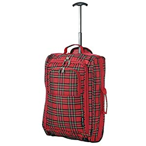Wheeled Ryanair Cabin Approved Flight Hand Luggage Travel Trolley Suitcase Bag Chekered Red by Fusion