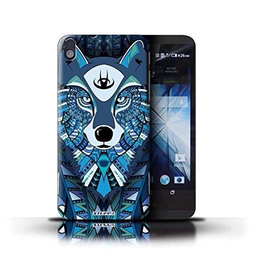 Kobalt® Imprimé Etui / Coque pour HTC Desire 816 / éléphant-Rouge conception / Série Motif Animaux Aztec Loup-Bleu