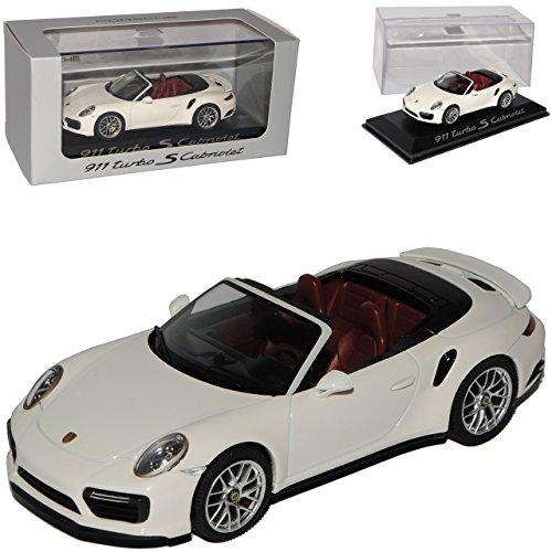 Preisvergleich Produktbild Porsche 911 991 II Turbo S Cabriolet Weiss Modell Ab 2012 Ab Facelift 2015 1/43 Herpa Modell Auto mit individiuellem Wunschkennzeichen