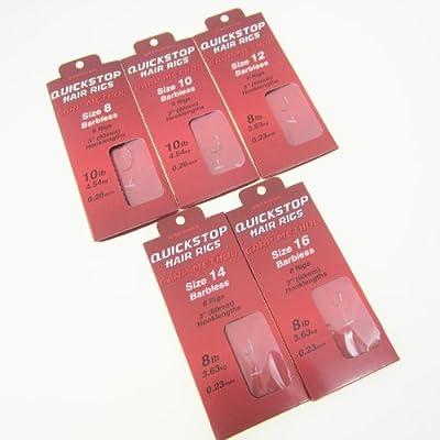 FTD - 24 (3 packs of 8) of Single Size DRENNAN PUSHSTOP HAIR RIGS (CARP METHOD) Barbless Fishing Hooks (available sizes 8, 10, 12, 14 & 16) - comes with 10 FTD Barbless Hair Rigs by FTD & DRENNAN