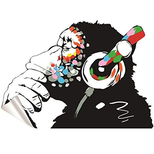Banksy Vinyl Wand Aufkleber Affe Mit Kopfhörer / Affe Abhör zu das Musik in Kopfhörer / Street Graffiti Kunst Aufkleber + Gratis Aufkleber Geschenk - 100x69 cm (Vinyl-wand-aufkleber)