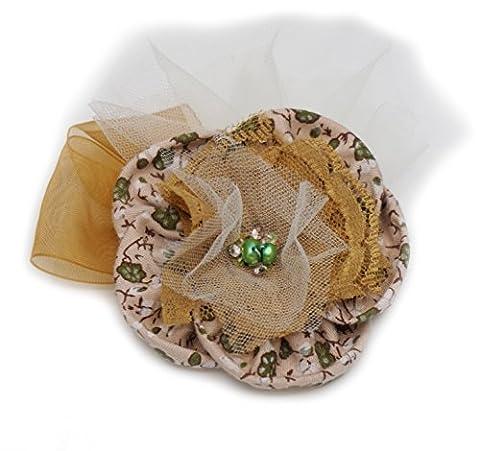 Broche fleur beige/ivoire en tissu coton, tulle, dentelle et ruban organza.