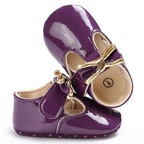 MiyaSudy Babyschuhe Neugeborenes Mädchen Schuhe Bowtie PU leder Erste Wanderer Weiche Alleinige Prewalker Schuhe Lauflernschuhe Krabbelschuhe Violett