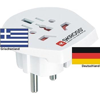 Reiseadapter - Auslandsadapter auf Deutschland Schukostecker - Strom Netz Adapter für Stecker aus Griechenland 220-230V Umwandlungsstecker Reisestecker German Travel Adapter Greece