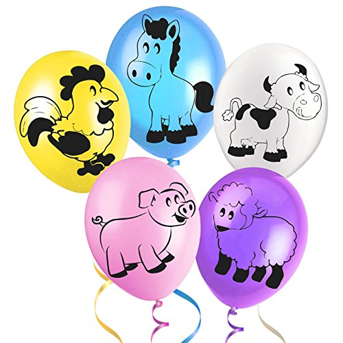 Colourful Farmyard Friends Animal Latex Balloons - A Selection of Pigs, Horses, Cows, Sheep and Chickens - Ideal for kids birthdays, Farm or Barnyard themed party by Good Deals Online
