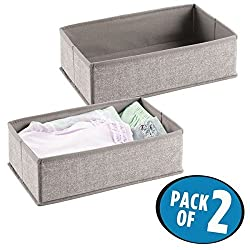 mDesign Fabric Nursery Drawer Organizer for Baby Clothes, Diapers, Wipes - Pack of 2, Linen