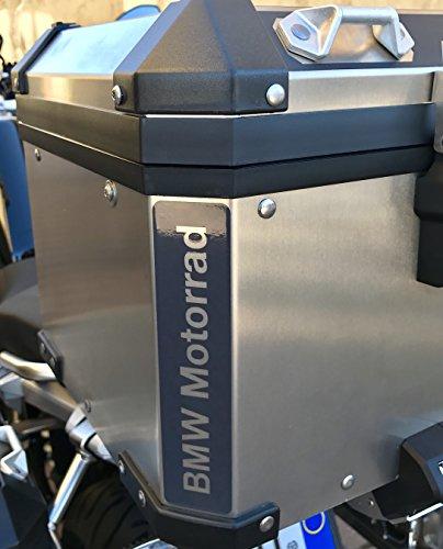 N.2 pz. RIFRANGENTI REFLECTIVE MOTORRAD TOP CASE BAGS R1200 R1250 STICKERS ADESIVI NERO BLACK