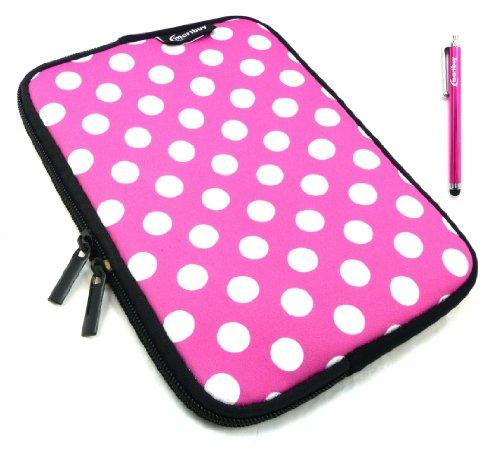 Emartbuy® Rosa Stylus + Tupfen Rosa / Weiß Wasser Resistant Neoprene Weich Zip Case Cover Tasche Hülle Sleeve Für I.onik TP - 1200QC 7.85 Inch Tablet (8 -Zoll-Tablet )