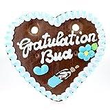 Bavariashop Lebkuchenherz Gratulation Bua - Zünftig Bayerisch, 100 g, 14 x 17 cm, Geschenkidee und Mitbringsel