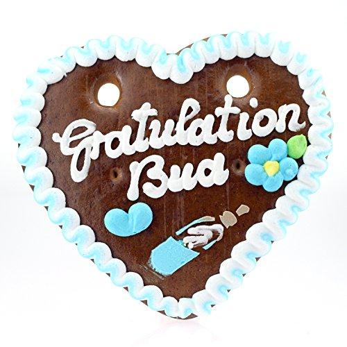 Preisvergleich Produktbild Bavariashop Lebkuchenherz Gratulation Bua - Zünftig Bayerisch, 100 g, 14 x 17 cm, Geschenkidee und Mitbringsel