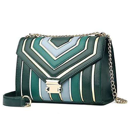 2019 Frühjahr neue weibliche Tasche Nähte Kontrastfarbe kleine quadratische Tasche weibliche Schultern wilde Hong Kong Stil Retro Messenger Bag (grün, 25 * 12 * 22cm)