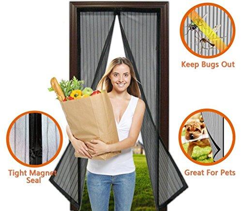 OKCS Fliegengitter Tür Insektenschutz - Magnetischer Balkontür, Terrassentür Insektenschutz Moskitonetz Türvorhang 1 x 2m - Schwarz