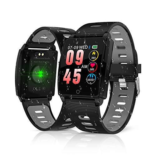 KINGLINK Smartwatch, Fitness Armband Mit Pulsmesser, IP68 Wasserdicht Smart Watch Schrittzähler Armbanduhr Uhr Fitness Tracker für Damen Herren Kinder Android iOS (Tracker Ios)