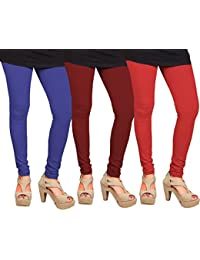CAY 100% Cotton Combo of Red, Blue and Maroon Color Plain, Stylish & Most Comfortable Leggings For Girls & Women with Full Length (SIZE : Free Size)