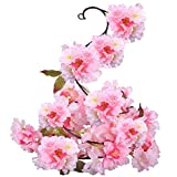 A-szcxtop Artificial Flowers Plants Silk Cherry Blossom Hanging Vine Garland Fake Wreath Home Party Garden Fence Christmas Wedding Decor.