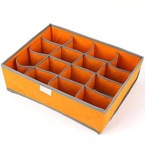 SYT Storage Boxes Unterwäsche-Organisation Non-Woven Faltbare Aufbewahrungsbox für BH-Socken Unterwäsche Lagerung Verschiedenen Grid Home Organizer, 16-Raster-Orange (Woven Storage-boxen)