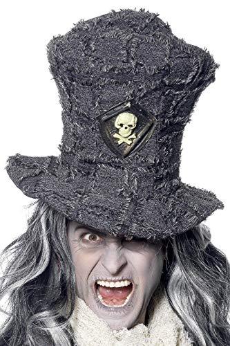 Kostüm Totengräber - Smiffys Unisex Totengräber Hut mit Totenkopf Emblem, One Size, Grau, 34951