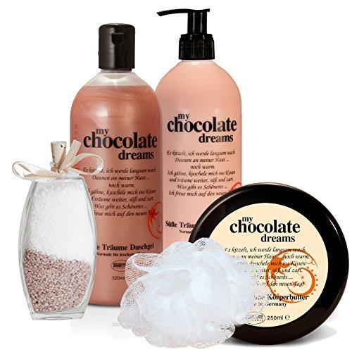 BRUBAKER Happiness 'My Chocolate Dreams' Set Cadeau Chocolat avec Lotion corporelle, Gel douche, Beurre corporel, Sel de bain et Fleur de douche
