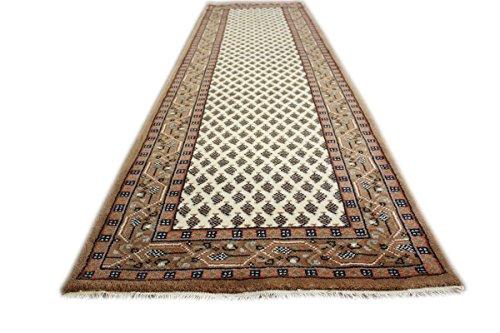Teppich Orient Läufer Mir ROT BEIGE Cream 75x270 cm 100% Wolle Handgeknüpft (BEIGE) -