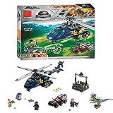 YK GAME Kingdom World Blue Hubschrauber Jagen Und Blaue Charaktere Dinosaurier Und Hubschrauber Spielzeug Montiert Bausteine Spielzeug Puzzle,A