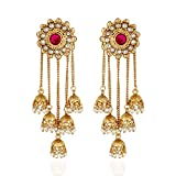 #10: Shining Diva Fashion Jewellery Gold Plated Stylish Fancy Party Wear Pearl Jhumka Jhumki Traditional Earrings For Women & Girls