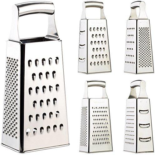 Rosenstein & Söhne Küchenreibe: Hochwertige Vierkantreibe aus Edelstahl mit extra scharfen Reiben (Gemüsereibe)
