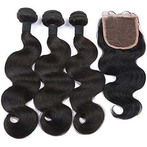 Ohlees ® Brazilian Virgin 100% Remy Human Hair Weft colore naturale Body Wave Weave-Prolunghe da 3 sacchetti parte centrale con chiusura (4 x 4) 1Bundles