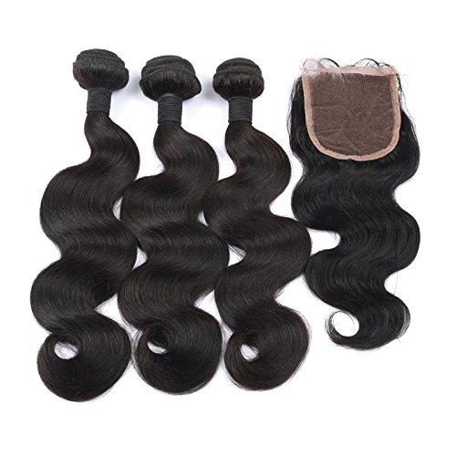Ohlees® 7A cher Brazilian Virgin Hair Human Extensions capillaires Cheveux brésiliens vierges Remy 100% humains tissage couleur naturelle Body Wave Extensions 3 trames + partie au milieu en dentelle fermeture 4*4 1bundles
