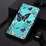 Phcases Shockproof PU Leather Flip Wallet Case with Magnetic Closure Stand Card Holder ID Slot Money Pouch Folio TPU Bumper Protective Skin Phone Cover for Samsung Galaxy A20e/A10e(Butterfly).