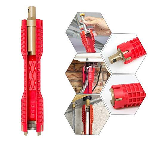Fortspang Clé à Pipe Multi-usages, Changez L'outil De Robinet Outil de réparation pour Robinet et évier Plombier Clé à Douille Outils de plomberie Clé à Tuyau pour Cuisine (rouge)