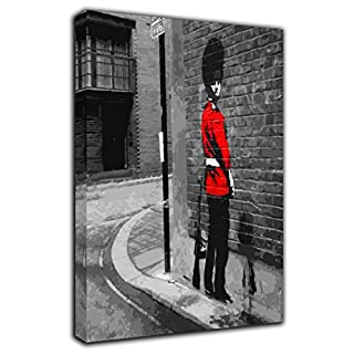 BANKSY QUEENS GUARD WALL ART PICTURE PRINT ON FRAMED CANVAS HOME DECORATION 30 x 24 inch-18mm depth