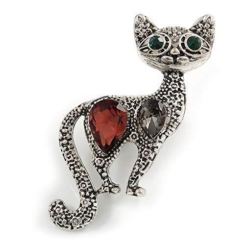 Unbekannt Avalaya Katzen-Brosche, Vintage-Stil, strukturierte Kristalle, versilbertes Metall, 50 mm hoch