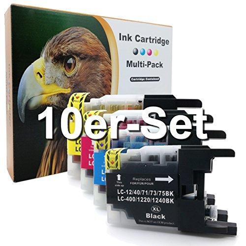 10er-Set D&C Druckerpatronen für Brother LC-1240 DCP J525 W MFC J430 W J5910 DW J625 DW J6510 W J6710 DW J6910 DW ersetzt LC-1220 LC-1240 LC12/40/71/73/75
